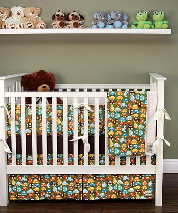 Lime Car Crib Bedding Set