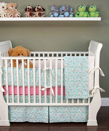 Blue Daisy Crib Bedding Set