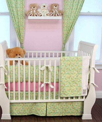Green Daisy Crib Bedding Set