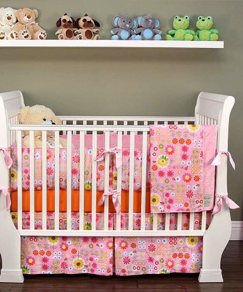 Pink Big Daisy Crib Bedding Set