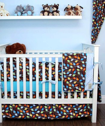 Chocolate Helicopter Crib Bedding Set