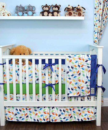 White Helicopter Crib Bedding Set