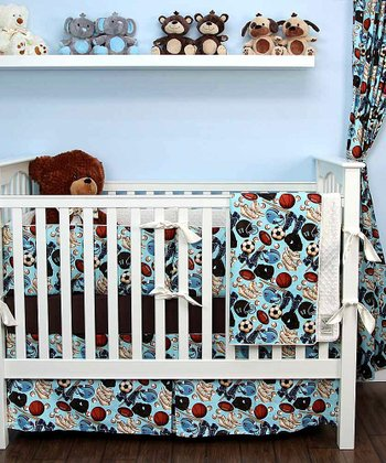 Blue Play Ball Crib Bedding Set