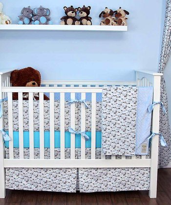 Blue Rush Hour Crib Bedding Set