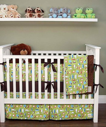 Lime Green Road Trip Crib Bedding Set