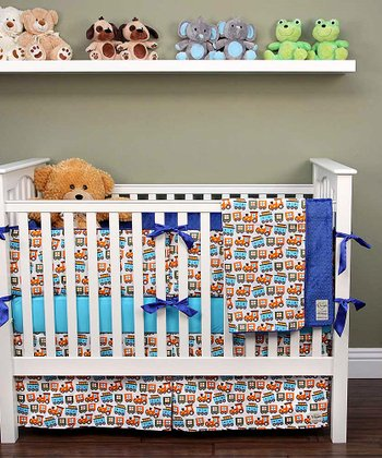 White Train Crib Bedding Set