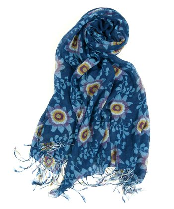 Navy Passion Flower Scarf