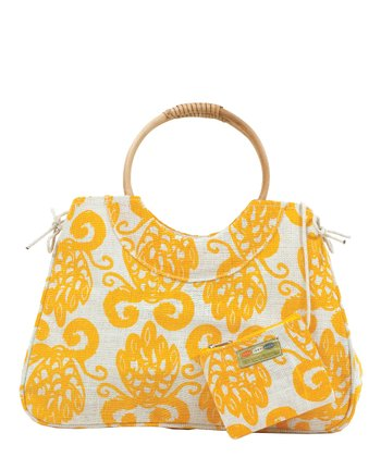 Yellow Pineapple Jute Satchel