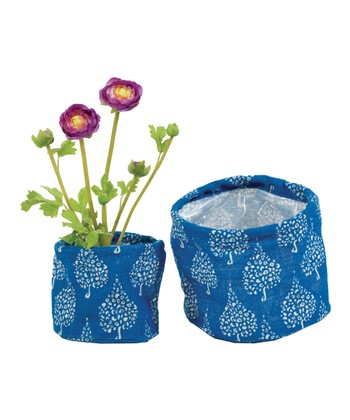 Blue Crete Flower Pot Cover Set