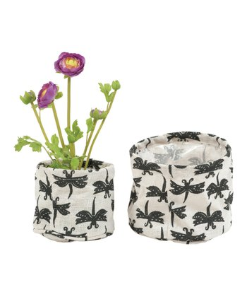 Gray Dragonfly Flower Pot Cover Set