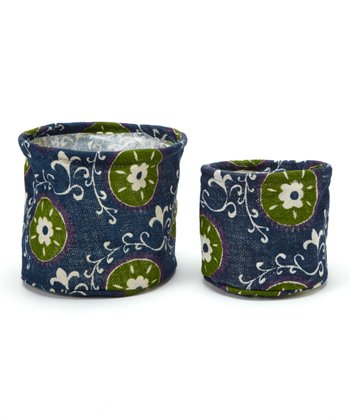 Navy Suzani Flower Pot Cover Set