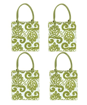 Olive Pineapple Itsy Bitsy Tote - Set of Four