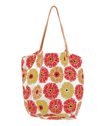 Red Gerber Daisy Bucket Bag