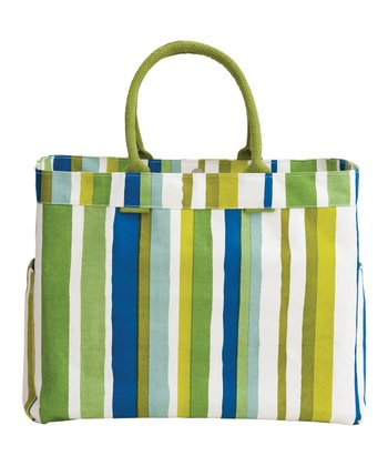 Blue & Green Sunrise Stripe Carryall Tote