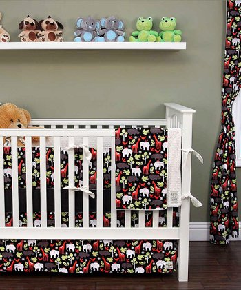 Black Zoo Crib Bedding Set
