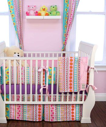 Pink Daisy Stripes Crib Bedding Set
