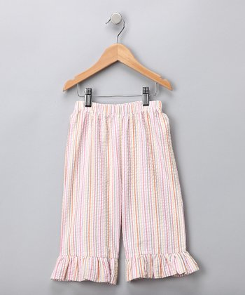 Pink Stripe Seersucker Capri Pants - Girls