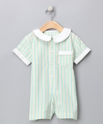 Yellow & Blue Seersucker Romper - Infant