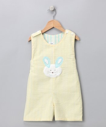 Yellow Bunny Reversible Shortalls - Infant