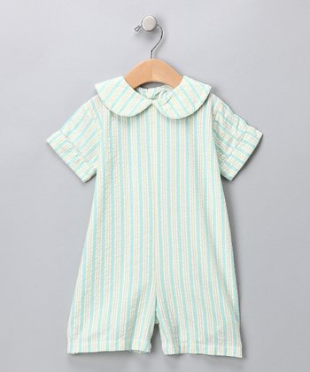 Yellow & Blue Stripe Romper - Infant