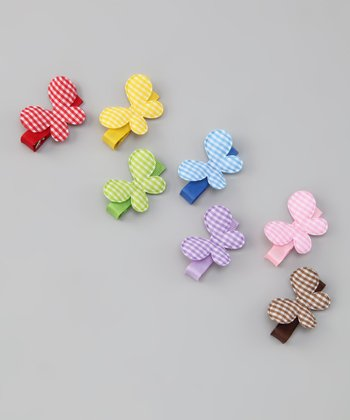 Gingham Butterfly Clip Set