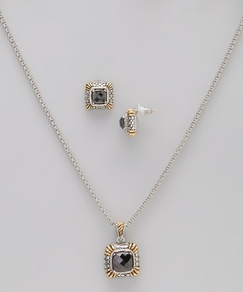 Gold & Black Simulated Diamond Pendant Necklace & Earrings