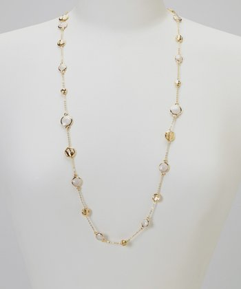 Gold & Cream Station Necklace