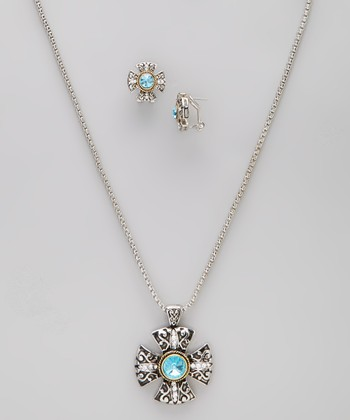 Simulated Aquamarine Cross Pendant Necklace & Earrings