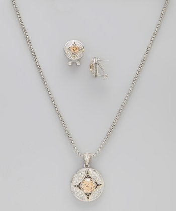 Cherry Simulated Diamond Pendant Necklace & Earrings