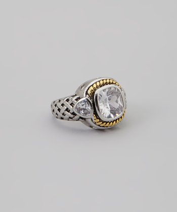 Gold & Clear Simulated Diamond Ring