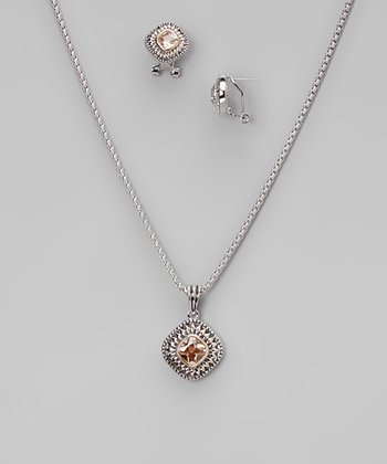 Champagne & Silver Square Pendant Necklace & Earrings
