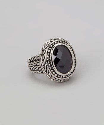 Black Diamond & Silver Ring