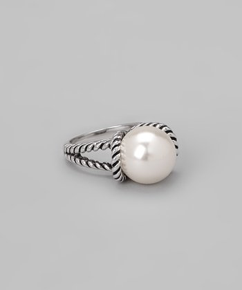 Silver & Pearl Double Band Ring
