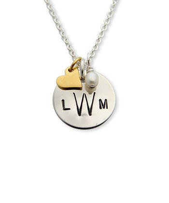 Gold & Silver Monogram Heart Pendant Necklace