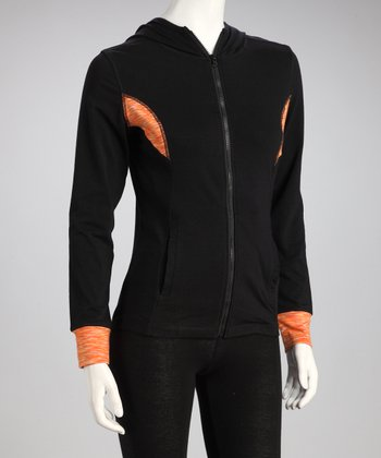 Black & Orange Hooded Track Jacket