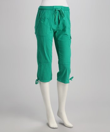 Emerald Tie-Bottom Capri Pants