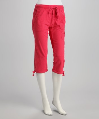 Rouge Tie-Bottom Capri Pants