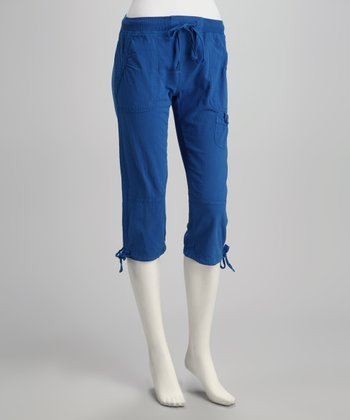 Royal Blue Tie-Bottom Capri Pants