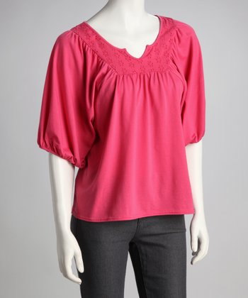 Carmine Puff-Sleeve Top
