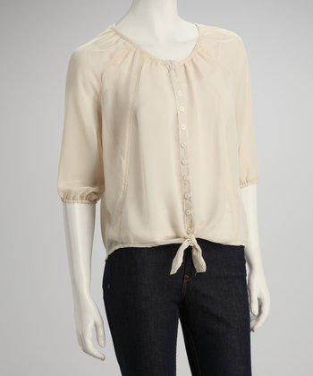Linen White Sheer Button-Up
