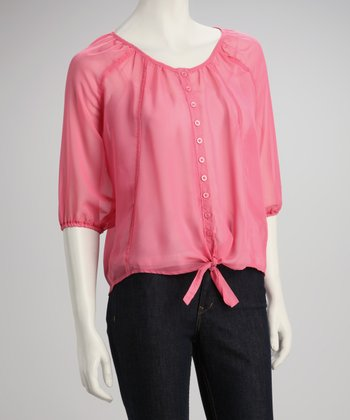 Rose Bud Sheer Button-Up