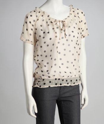 Black Polka Dot Shirred-Waist Top
