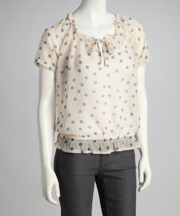 Chambray Polka Dot Shirred-Waist Top