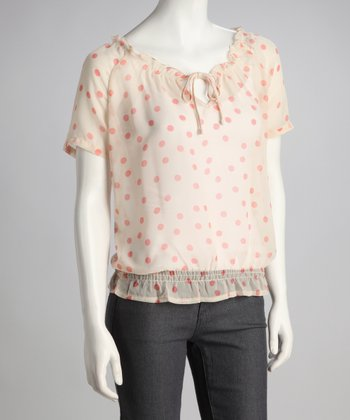 Salmon Polka Dot Shirred-Waist Top