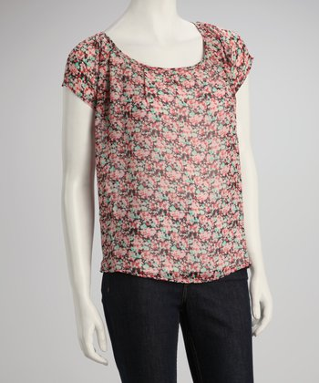 Rose Sheer Tulip-Back Top