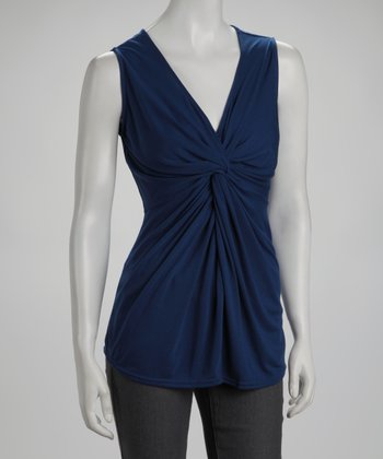 Pearl Blue Twist-Front Top