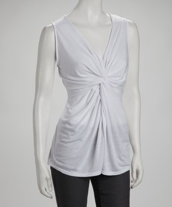 White Twist-Front Top
