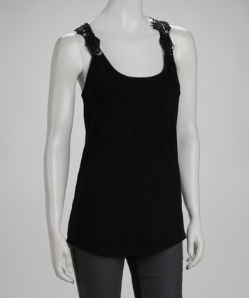 Black Crochet Racerback Top