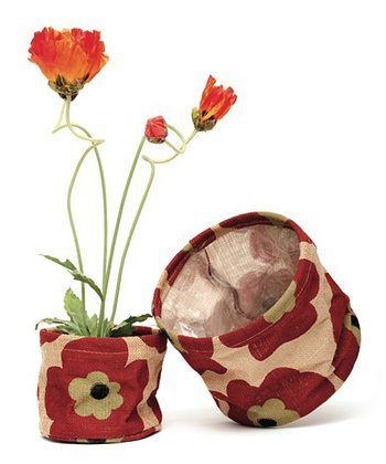 Red Poppy Flowerpot Cover Set