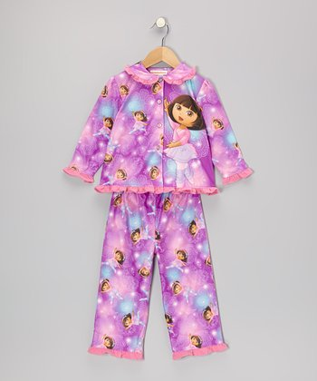 Purple & Pink Dora Ballet Button-Up Pajama Set - Infant & Toddler